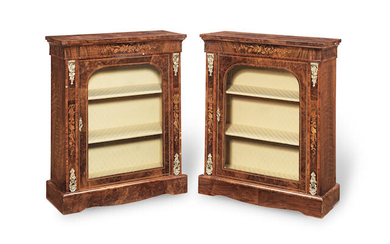 A pair of Victorian figured and burr walnut, tulipwood crossbanded and marquetry pier display cabinets