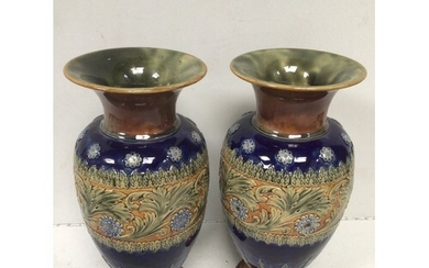 A pair of large Royal Doulton pottery vases of inverted balu...
