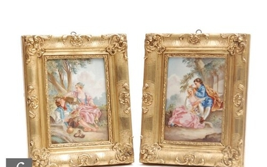 A pair of late 20th Century framed plaques each decorated wi...