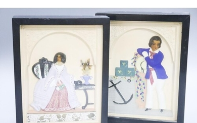 A pair of painted wax relief plaques, framed