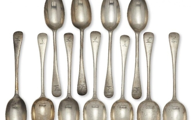 A set of six Victorian silver table spoons, London, c.1899, Josiah Williams & Co, and three table spoons with similar armorial, London, c.1897, Holland, Aldwinckle & Slater, all of old pattern design with armorial designed as a raised arm, together...