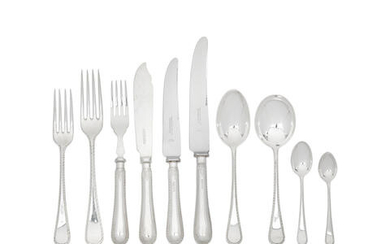A silver Old English feather edge flatware service