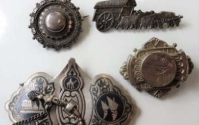 A small selection of mostly 19th century silver brooches and...