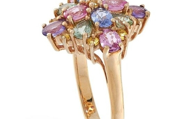 AN UNHEATED MULTICOLOURED SAPPHIRE RING in yellow gold