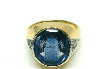 ANTIQUE Carved Synthetic Sapphire Diamond Signet Ring