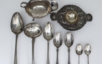 An Early 20th Century Continental Silver Two-Handled Tea Strainer,...
