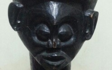 An extremely rare Fang black female figure with palm...