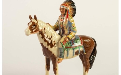 BESWICK POTTERY FIGURE, 'NORTH AMERICAN INDIAN CHIEF ON HORS...