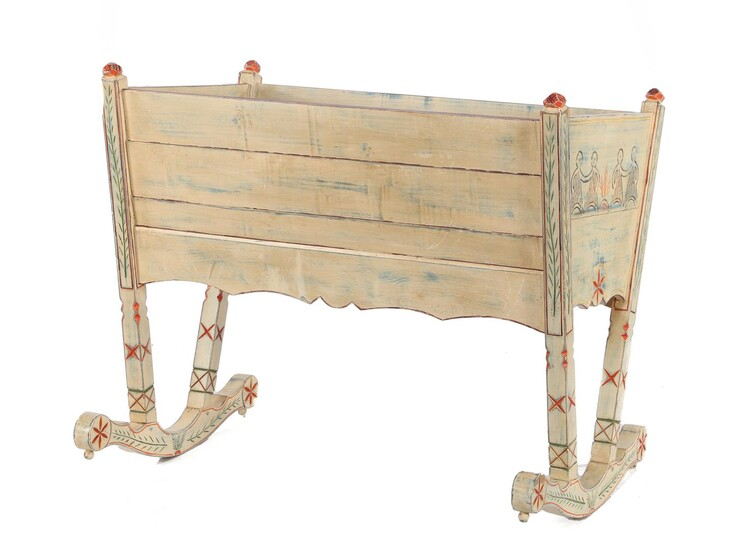 (-), Painted rocking cradle approx. 92 cm high,...