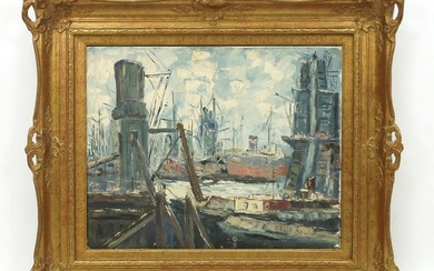 Continental Oil on Canvas, Shipyard Scene.