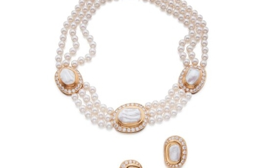 Cultured Pearl and Diamond Necklace and Pair of Earclips