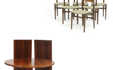 NOT SOLD. Danish furniture design: A circular rosewood dining table with extension and two extra...