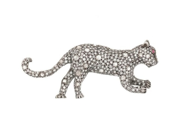 """Diamond and Ruby """"Panther"""" Brooch"""