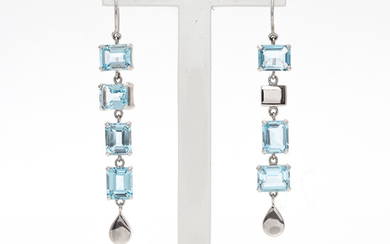 """EFVA ATTLING. """"Crystal Fall for ears - Blue Lagoon"""" earrings, silver with topazes."""