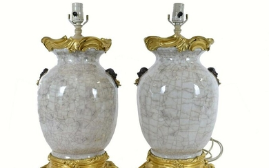 FINE PAIR CHINESE ORMOLU MOUNTED CRACKLE VASES