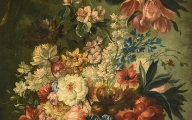French School (19th/20th century) Still life with Roses,Tulips and a...