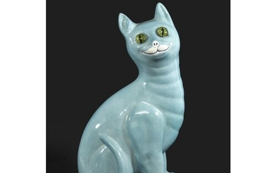 GALLE STYLE POTTERY CAT the large pottery cat with a turquoi...