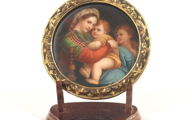 German Porcelain Hand Painted Madonna della Sedia, After Raphael, in Carved Wood Frame, on Stand, ca. late 19th/Early 20th Century