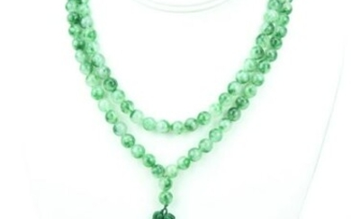 Green & White Jade Necklace Strand W Tassel