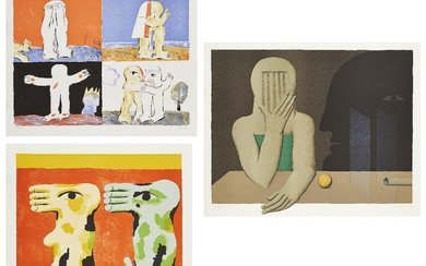 Horst Antes, German b.1936- Zwei Fusse, 1968, Farblitho aus Engel der Geschichte N°5, 1966, and Figure Mit Zwei Glasscheiben am Tisch, 1972; three lithographs in colours on Rives wove, each signed, inscribed and numbered variously in pencil, sheets...