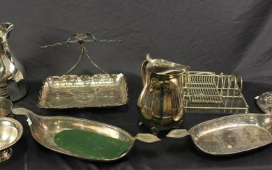 MIXED LOT OF NINE SILVER PLATED SERVING PIECES