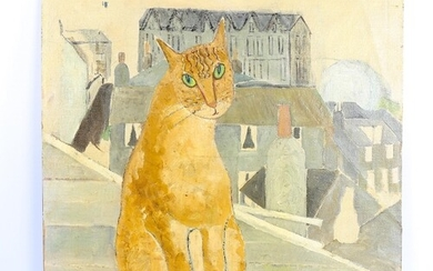 Mid-20th century oil on canvas laid on board, ginger cat, un...