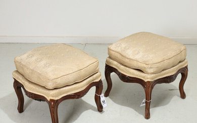 Near pair Rococo Revival upholstered footstools
