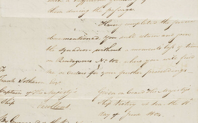 Nelson (Horatio) Manuscript document signed by Admiral Nelson, On board HMS Victory, 18th June 1804.