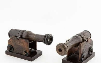 PAIR, CHINESE CARVED SOAPSTONE MODEL CANNONS