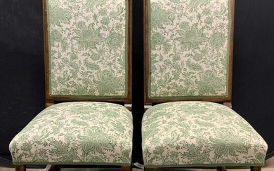 Pair Upholstered Campaign Chairs