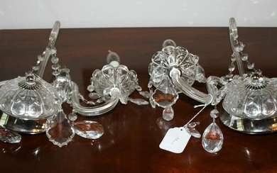 Pair of Schonbek Crystal Two Arm Wall Sconces