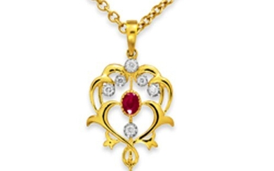 Ruby Pendant set with 0.36ct. Rubies and 0.13 ct. diamonds. ...