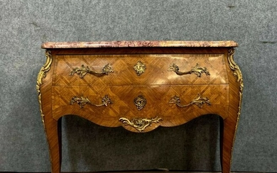 Sauteuse chest of drawers - stamped JP Delaporte - Louis XV Style - Bronze (gilt), Kingwood, Marble, Marquetry - Around 1880