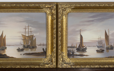 Shipling - Coastal Views, a pair of late 20th century oils on panel, both signed, each 19cm x 39cm