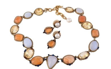 Silver gilt agate and citrine necklace by Percossi Papi