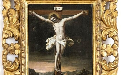 TUSCAN SCHOOL, LATE 16th CENTURY Christ crucifixed Oil on panel,...