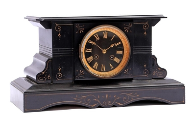 (-), Table mantel clock in black marble case,...