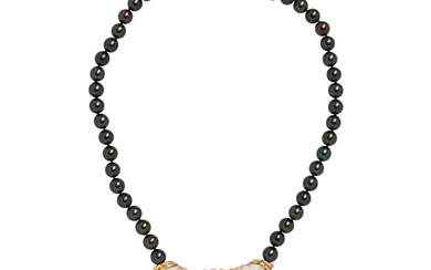 Tahitian Pearl, Carved Mother-of-pearl, Rubellite, and Diamond Necklace