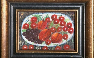 Unknown Artist, Still Life of Red Fruit, Oil Painting