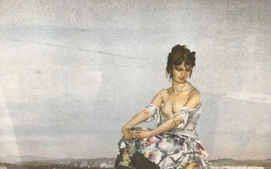 William Russell Flint (1880-1969) limited edition colour print - seated female figure in landscape, 207/850, with WRF Galleries blindstamp, 46cm x 63cm, in glazed frame
