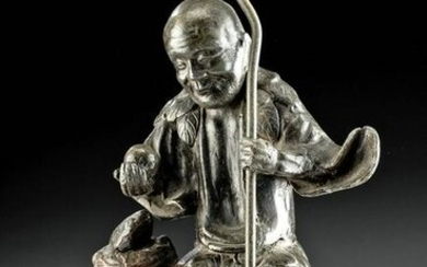 18th C. Chinese Qing Seated Figure in Lead