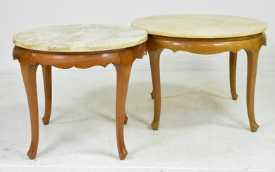 2 Louis XV Style Round Marble Top Coffee Tables