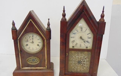 2 Steeple Clock, Ansonia and Gilbert, Time and Strike