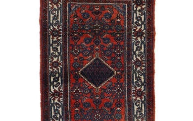 2'7 x 4' Hand-Knotted Persian Malayer Herati Accent Rug