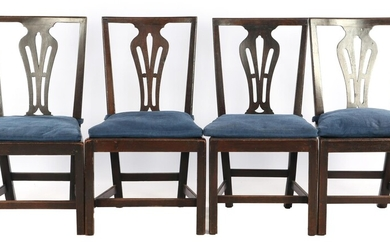 (-), 4 walnut color chairs with carved decor...