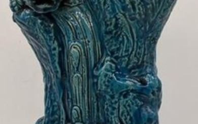 A 19th century Chinese blue glazed porcelain study of a