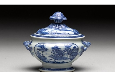 A CHINESE BLUE AND WHITE 'VILLAGE HAMLET' TUREEN AND COVER, ...