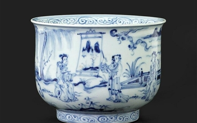 A Chinese Blue and White Porcelain Footed Bowl.