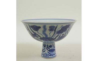 A Chinese Ming style blue and white porcelain stem cup decor...