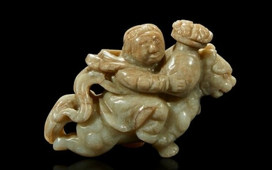 A Chinese greyish white jade carving of a foreigner